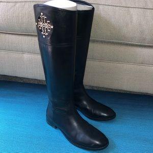Tory Burch Kieran Tall Riding Boot Black Leather 9